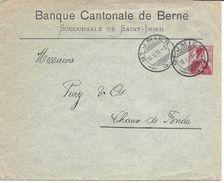 BANQUE CANTONALE DE BERNE SAINT-IMIER, Lettre Entier Postal 1911, TYPE HELVETIA 10 Centimes, Suisse, Ganzsache - Interi Postali