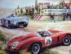 Targa Florio 1955  -  Mercedes 300SLR - Ferrari Monza  - Artist Vaclav Zapadlik  -  Plaque Métal 20 X 15 Cms  -  Neuf! - Advertising (Porcelain) Signs