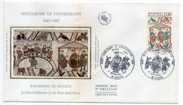 1987--FDC  Soie --Guillaume Le Conquérant  (Tapisserie De Bayeux-14 ) ---  Cachet  ROUEN --76 - FDC