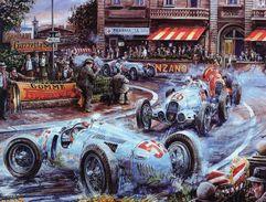 Vintage Grand Prix  -  Auto Union - Mercedes - Alfa Romeo  - Artist Vaclav Zapadlik - Plaque Métal 20 X 15 Cms  -  Neuf! - Advertising (Porcelain) Signs