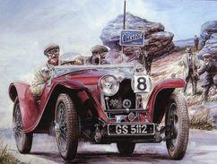 Vintage Rally Scene  -  Riley Sports Car  - Artist Vaclav Zapadlik - Plaque Métal 20 X 15 Cms  -  Neuf! - Advertising (Porcelain) Signs