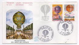 1983--FDC   -Bicentenaire De L'air Et De L'espace (Montgolfière) N°1319 -- 2 Cachets  LE BOURGET--93 - FDC