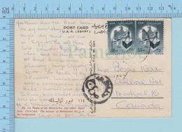 2 X Egypt # 535 - Duplex Postmark Send To Canada, Scene : Tumbs Of The Mameluke, Moske Of Mahomed Ali - Postcard - Égypte