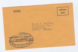1977 OHMS Official Mail POSTAL STATIONERY COVER Australia Postmaster General Dept POSTMASTER COCOS KEELING ISLANDS Stamp - Cocos (Keeling) Islands