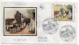 """1983--FDC Soie - UTRILLO (Le Lapin Agile"""" --- Cachet  PARIS - 75 - FDC"""