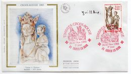 1983--FDC Soie -Croix-Rouge--Vierge à L'enfant-Baillon 15° S --- Cachet Rouge--ENGHIEN LES BAINS-95 - FDC