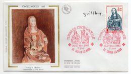 1983--FDC Soie -Croix-Rouge--Vierge à L'enfant- Genainville 16° S --- Cachet Rouge--ENGHIEN LES BAINS-95 - FDC