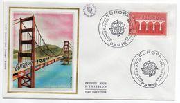 1984--FDC Soie -EUROPA  2,00f --Pont (drapeaux) - Cachet  PARIS -75 - FDC