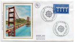 1984--FDC Soie -EUROPA  2,80f --Pont (drapeaux) - Cachet  PARIS -75 - FDC