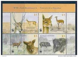 FAUNA - W.W.F.  Protected Animals - VENADO-VICUÑA-PUDÚ-CHANCHO - VF MNH **  2002 ARGENTINA SE-TENANT SHEET - Préhistoriques