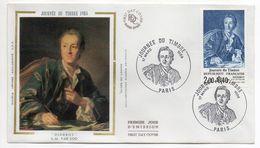 1984--FDC Soie -Journée Du Timbre--Diderot  - Cachet  PARIS -75 - FDC