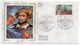 1984--FDC Soie - Jacques CARTIER  ( Navigateur  Canada ) - Cachet  SAINT MALO --35 - FDC