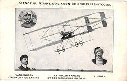 1 CPA  Grande Quinzaine D'Aviation De Bruxelles-Stockel  Biplan Farman     Pilotes Vandenborn   Kinet - Reuniones