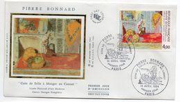 """1984--FDC Soie - PIERRE BONNARD """"Coin De Salle à Manger Au Cannet """"- Cachet  PARIS - 75 - FDC"""