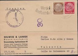 DR  MiNr 513, 519 MiF Auf Auslandspostkarte  Der Fa. Selwig & Lange Mit Stempel: Braunschweig 24.5.1940, ZENSUR - Deutschland