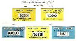 PORTUGAL, Radio Tax, PB 2/3, 5, 7/8, Used, F/VF, Cat. € 15 - Revenue Stamps