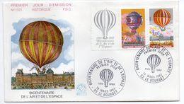 1983--FDC -Bicentenaire De L'air Et De L'espace (Ballon,Montgolfière) N°1321 --2 Cachets  LE BOURGET--93 - FDC