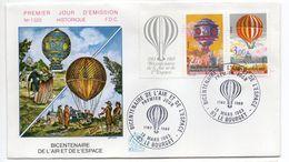 1983--FDC -Bicentenaire De L'air Et De L'espace (Ballon,Montgolfière) N°1320 --2 Cachets  LE BOURGET--93 - FDC