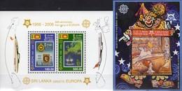 EUROPA 1956-2006 SRI LANKA Bl.102+Albania Block 157 ** 29€ Victoria Blocs Art Ss Ship Sheets Space Bf 50 Years CEPT - Sri Lanka (Ceylan) (1948-...)