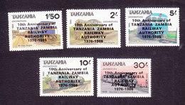 Tanzania, Scott #381A-381E, Mint Hinged, Train Overprinted, Issued 1987 - Tanzania (1964-...)