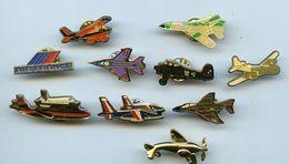 PINS - PIN'S  - LOT DE 10 PIN'S  THEME AVIATION AVION  - AIR FRANCE AVIONS - Badges