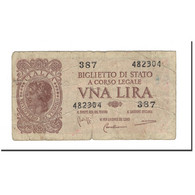 Italie, 1 Lira, KM:29b, 1944-11-23, AB - [ 1] …-1946 : Royaume