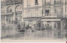 12 - Inondations De Paris - Janvier 1910 - Débarcadère Au Coin De La Place St-Michel - Vandenhove Liancourt - Inondations De 1910