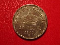 France - 20 Centimes 1867 BB Strasbourg Napoléon III 3349 - Francia