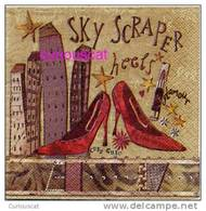 2 SINGLE COCKTAIL SIZE PAPER NAPKIN  PAPIER SERVIETTE TOVAGLIOLIO RED HIGH HEEL SHOES AND SKY SCRAPERS - Paper Napkins (decorated)