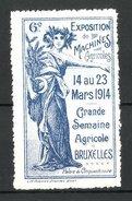 Reklamemarke Bruxelles, Exposition De Machines 1914, Frau Mit Sense, Blau - Vignetten (Erinnophilie)