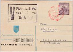 """Böhmen & Mähren - """"V Deutschland Siegt An Allen Fronten"""", Propaganda-Ra3 Karte - Occupation 1938-45"""