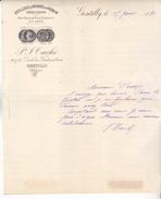 94 Gentilly - Lettre De 1891 Entete Commerciale Distillerie Et Entrepot Du Kremlin P  J Taché.86 Rte De Fontainebleau.Tb - France