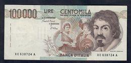 100000 Lire Caravaggio I° Tipo Serie Sostitutiva XC 2 Forellini Di Spilla BB/spl Lotto.1534 - [ 2] 1946-… Republik