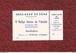 TICKET AERO - CLUB DE PONS RALLYE AERIEN DE L' AMITIE 1950 - Pons
