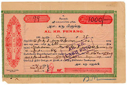 (I.B) Federated Malaya States Revenue : Penang Duty 5c (complete Note) - Great Britain (former Colonies & Protectorates)