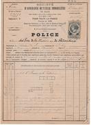 Police Assurance 1887 Avec Fiscal Dimension Vert 1 Franc Et 2/10ème Bord De Feuille - Mutuelle Du Mans - Fiscali