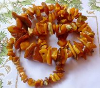 Vintage Jewelry Medicine Charm Big Beads Necklace With Antique Baltic Amber Yolk Yellow Butterscotch - 114g - Necklaces/Chains