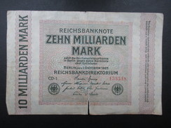 BILLET REICHSBANKNOTE (V1719) 10.000.000.000 ZEHN MILLIARDEN MARK (2 Vues) BERLIN 01/10/1923 - [ 3] 1918-1933 : Weimar Republic