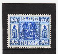 MAG1559  ISLAND 1930  Michl 133 (*) FALZ  ZÄHNUNG Siehe ABBILDUNG - 1918-1944 Unabhängige Verwaltung
