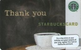 STATI UNITI  GIFT CARD STARBUCKS Cup Of Coffee (Thank You) US-STARB-6062-2009-2 - Cartes Cadeaux