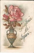 SOUVENIR  DE  SÉGUR  ( CORRÈZE )  /  Vase  De  Roses  Avec  Paillettes - Altri Comuni