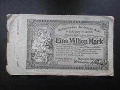 BILLET REICHSBANKNOTE (V1719) EINE MILLION MARK (2 Vues) DUISBURG - MEIDERICH 08/08/1923 Rheinischen Stahlwerke - [ 3] 1918-1933 : Weimar Republic