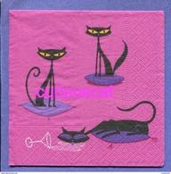 2 SINGLE COCKTAIL SIZE PAPER NAPKIN PAPIER SERVIETTE TOVAGLIOLI   BLACK CATS  SCHWARZE KATZEN  CHAT NOIR - Paper Napkins (decorated)
