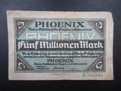 BILLET REICHSBANKNOTE (V1719) FUNF MILLIONEN MARK (2 Vues) PHOENIX Dusseldorf 15/08/1923 - 1918-1933: Weimarer Republik