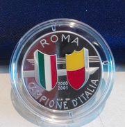 MEDAGLIA PROOF ANNO 2001 - ROMA CAMPIONE D'ITALIA SMALTO E  ARGENTO 925/1000 - GR. 17 DIAMETRO 35mm - PRIVATA + ASTUCCIO - Italia