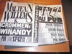 VERVIERS - AU PUB - 2 AFFICHES ANNONCES DE CONCERTS Dont MALJEAN WILLEMS. Affiches Faites Main ! - Affiches