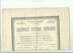 CERTIFICAT  G  F 26 X 34  D'ETUDES PRIMAIRES De LOREAU  JOSEPH  Le 13 Juillet 1912 A DIGOIN 71 (Dirige Par Mr DUCROUX - Diploma & School Reports