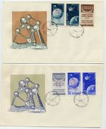 ROMANIA 1958 Brussels EXPO Overprints On Two FDC's.  Michel 1717-20 - FDC
