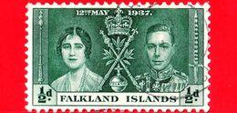 FALKLAND Islands - Usato - 1937 - Incoronazione Di Re Giorgio VI E Della Regina Elisabetta - ½ - Falkland