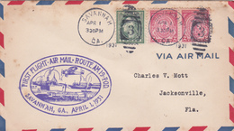 United States 1931 First Flight Air Mail 19 Savannah To Jacksonville, Souvenir Cover, Some Toned Spots - United States